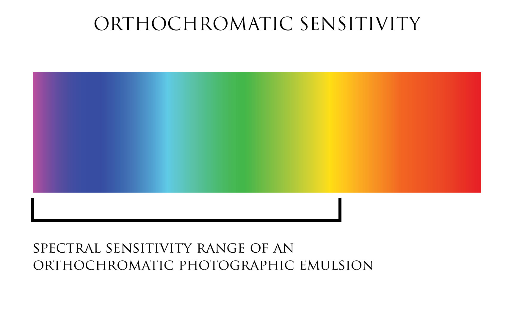 Illustration:Orthochromatic spectral sensitivity, film photography